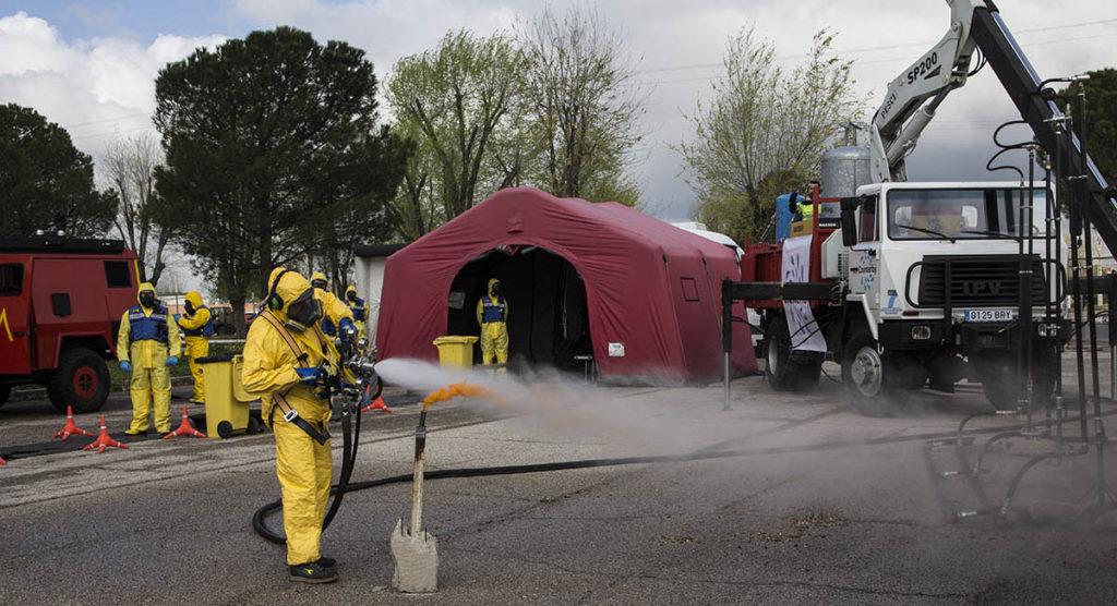 Demostración del sistema de descontaminación Counterfog en la UME
